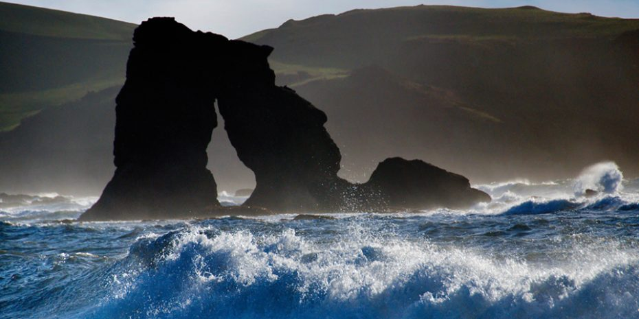 Thurlestone Rock is a dramatic sight on autumnal and wintery days