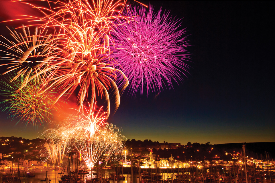 The festivities at Dartmouth Royal Regatta are rounded off with an impressive fireworks display.