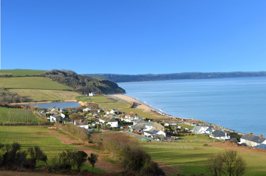 Beesands beach and village, viewed from the Coast Path coming from nearby Hallsands.