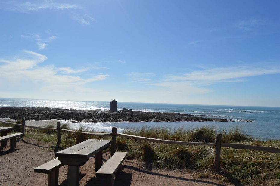 The view from a picnic table at South Milton Sands
