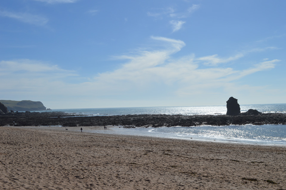 Another view of South Milton Sands, including the iconic Thurlestone Rock