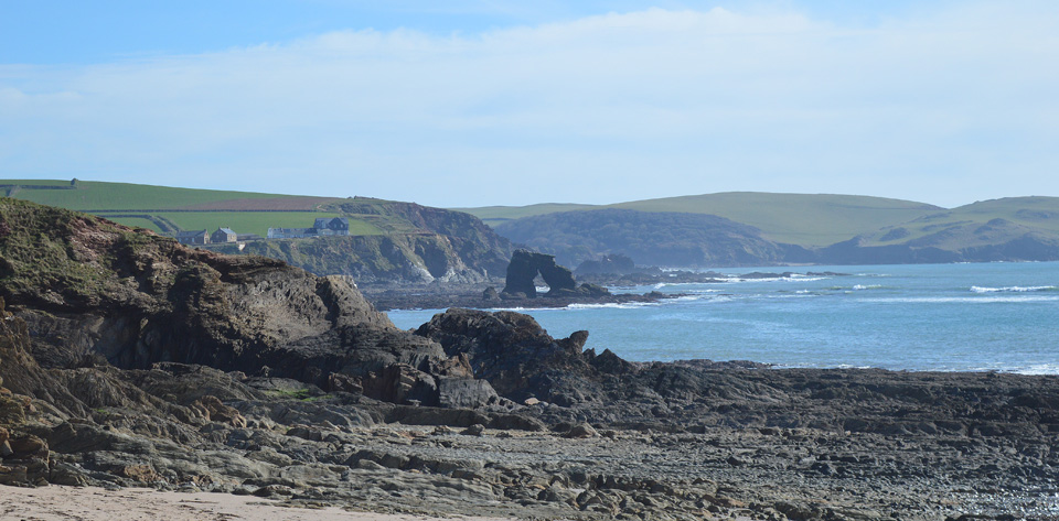 View of Thurlestone Rock from the Coast Path