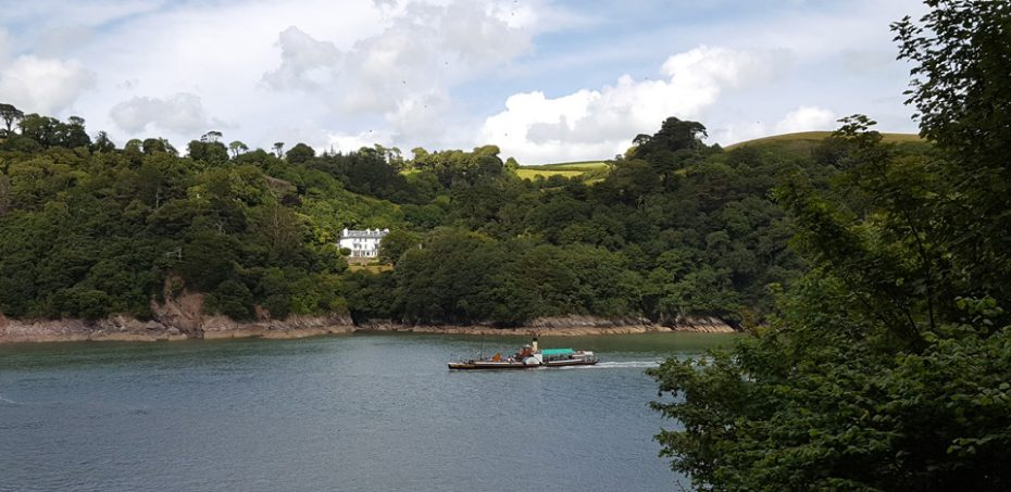 The paddle steamer making its way out of Dartmouth