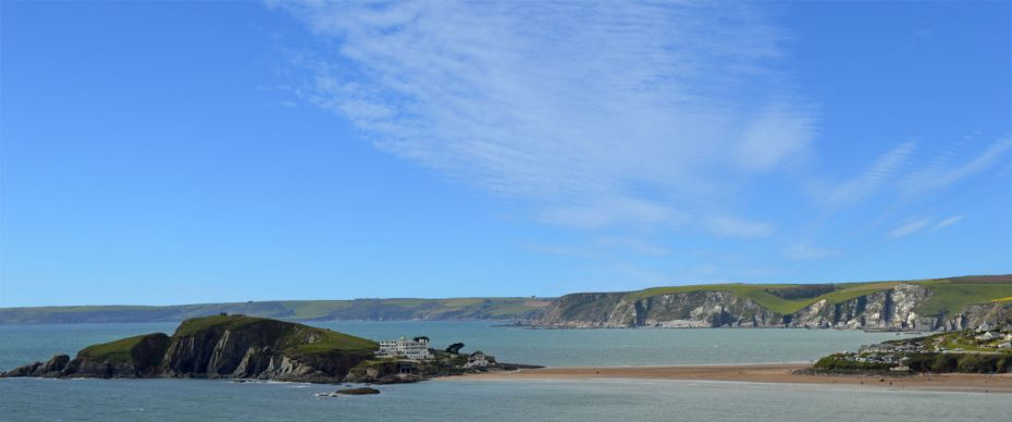 Burgh Island, viewed from the Coast Path, coming from Thurlestone beach