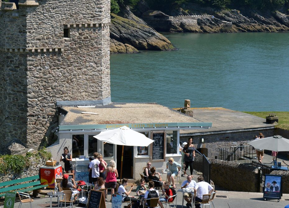 Dartmouth Castle Tea Rooms on a sunny day