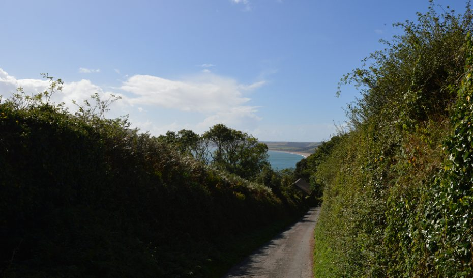 A view down the hill towards the A379 and Start Bay