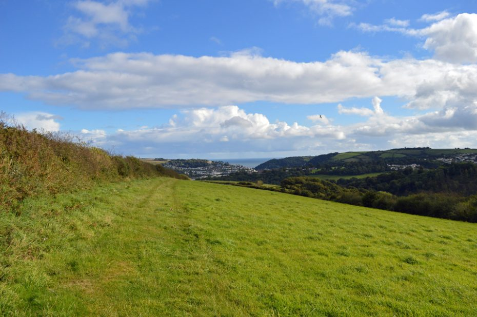 Dartmouth appears in the distance on the Dart Valley Trail