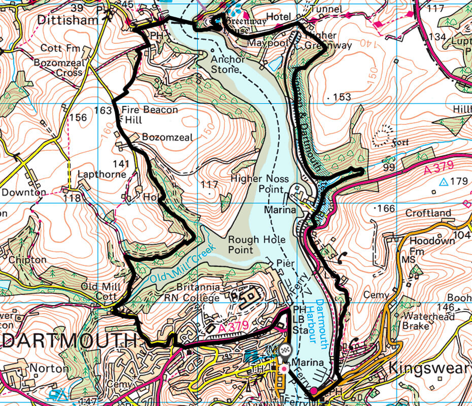 Dartmouth to Dittisham walks - Dartmouth to Greenway and Dittisham map