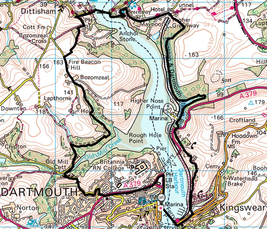 Dartmouth to Greenway and Dittisham