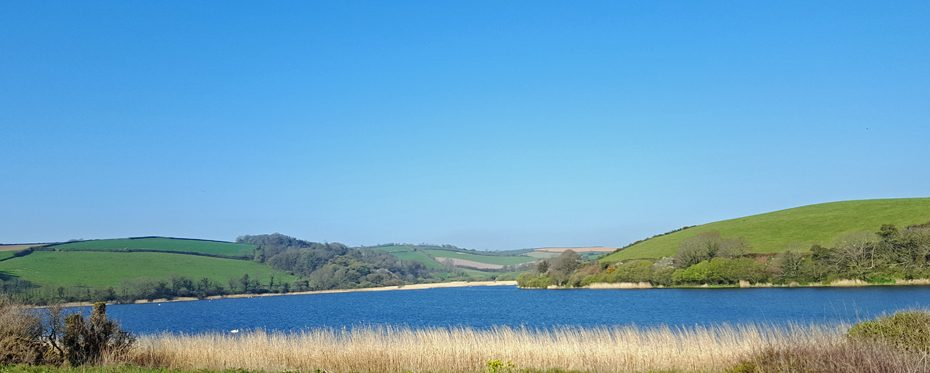 Slapton Ley, separated by a narrow bar from Start Bay