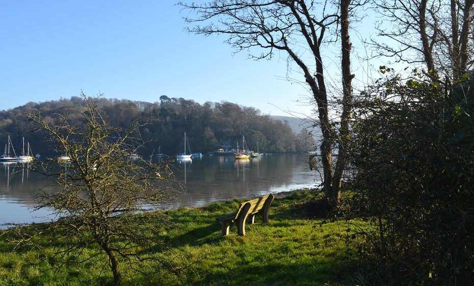 A bench overlooking the Dart from Dittisham