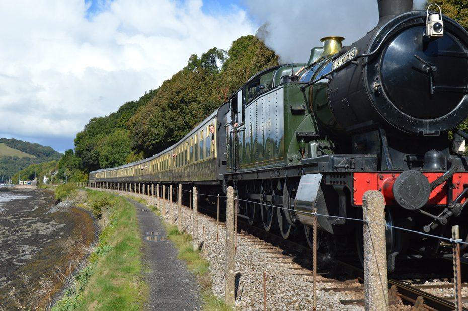 The steam train heading into Kingswear
