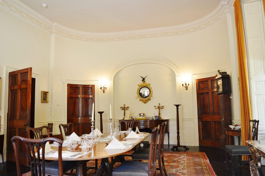 The dining room at Greenway, now run by the National Trust