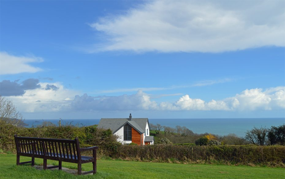 A bench in Strete, overlooking the sea