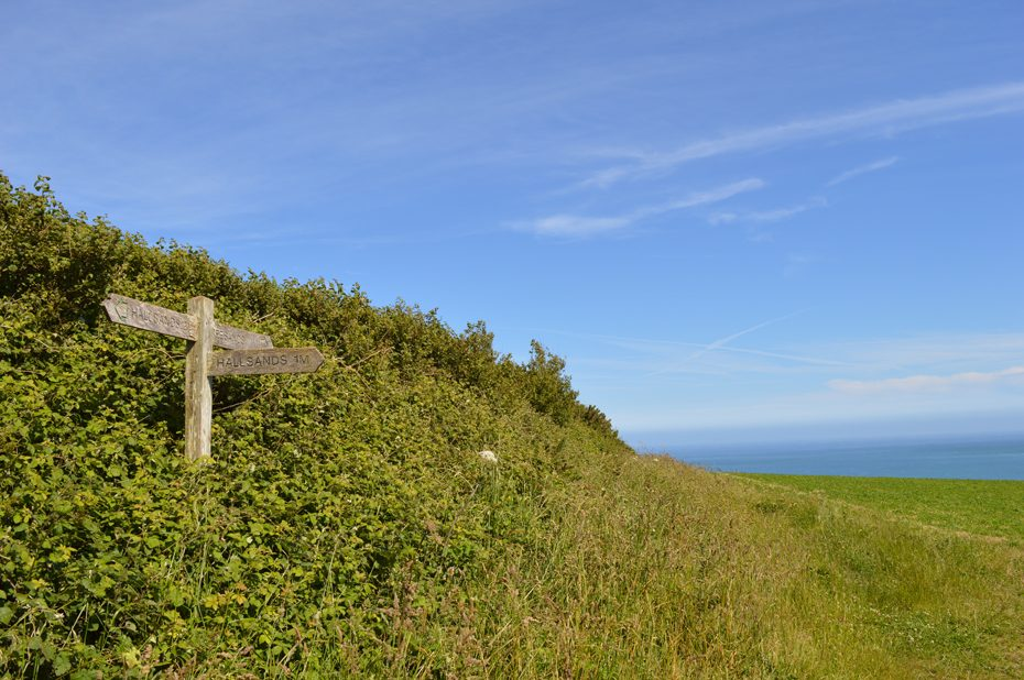 Stick to the left at this section of Coast Path by Hallsands