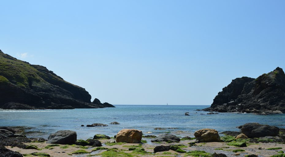 Looking out to sea from Soar Mill Cove