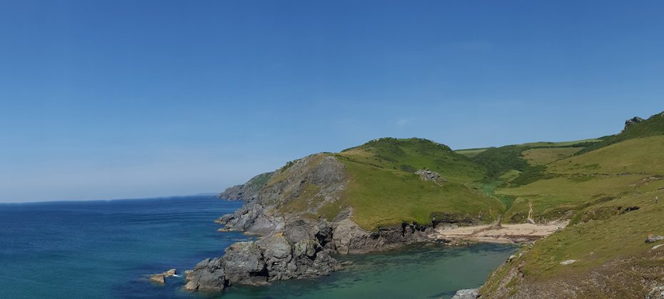 A wide view of Soar Mill Cove
