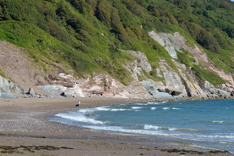Walking a dog at Man Sands beach