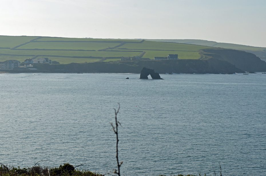 Thurlestone Rock, an arch-shaped formation out to sea opposite South Milton Sands.