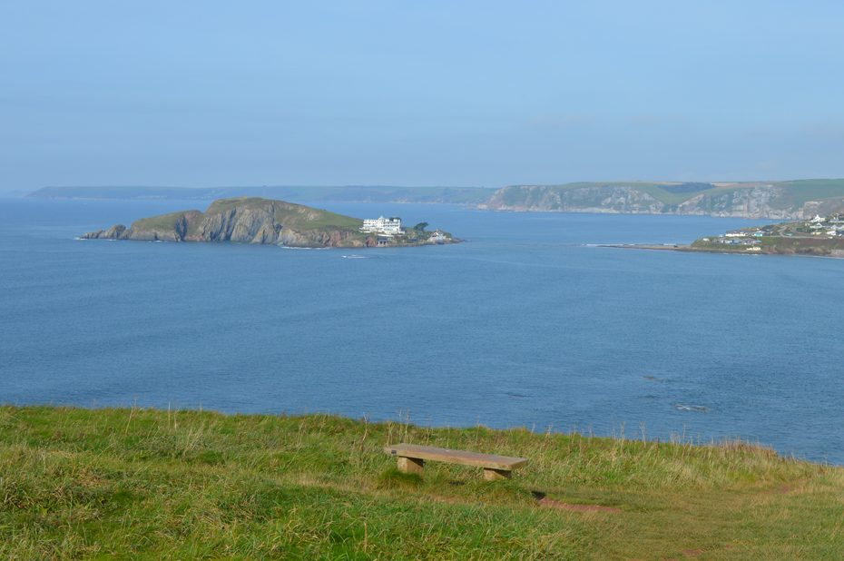 Burgh Island, seen from a bench above Bantham Beach.