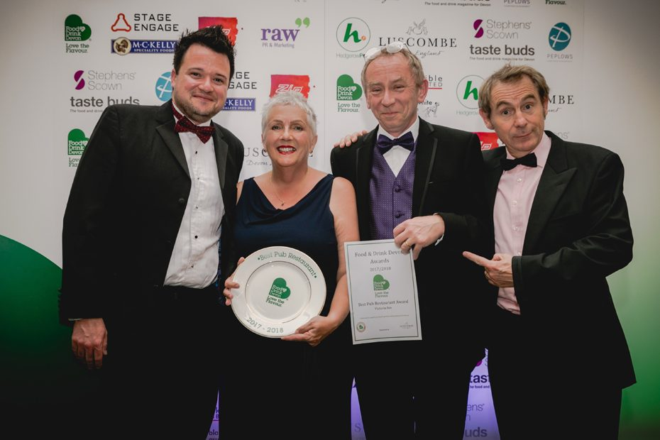 The Victoria Inn team celebrates their win at the Devon Food and Drink Awards
