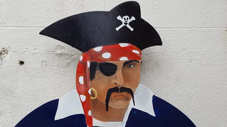 A pirate cutout at Salcombe Maritime Museum