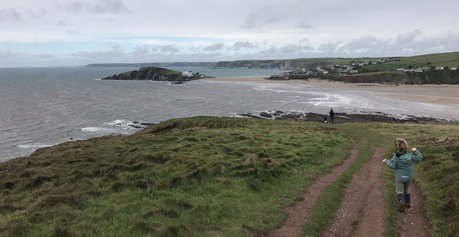 walking to Bantham Beach for a Christmas Day swim in South Devon