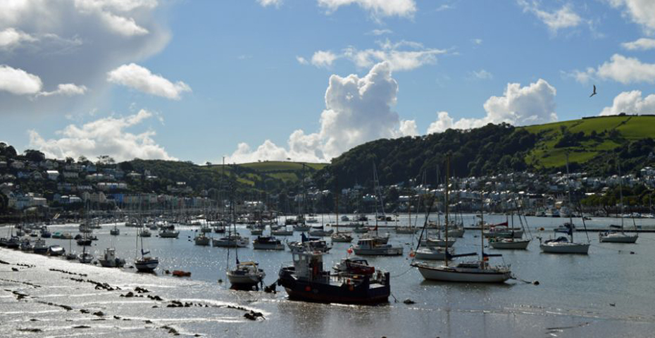 Dartmouth to Dittisham walk - view of Dartmouth towards Higher Ferry