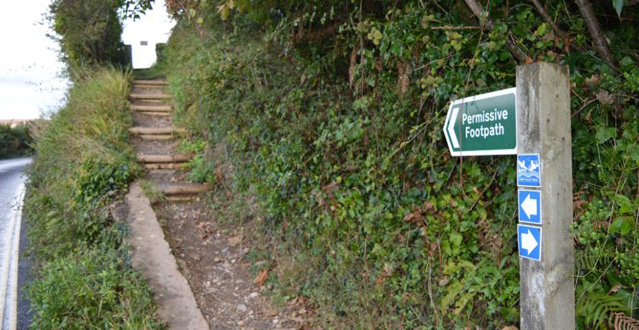 Dartmouth to Dittisham walks - footpath into Long Wood