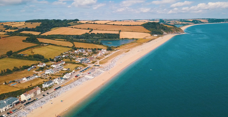 drone image Beesands Beach