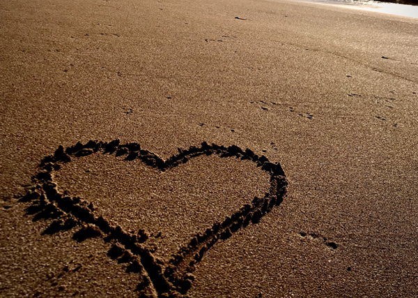 Valentine's Day in South Devon - heart in the sand
