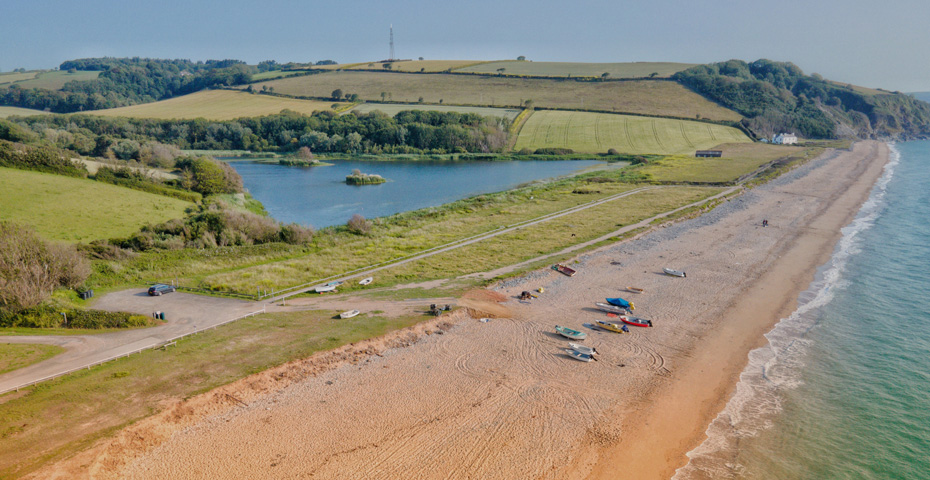 Drone image of Beesands Beach in Start Bay