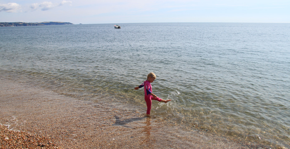 Playing in the sea at Slapton Sands and Torcross Beach