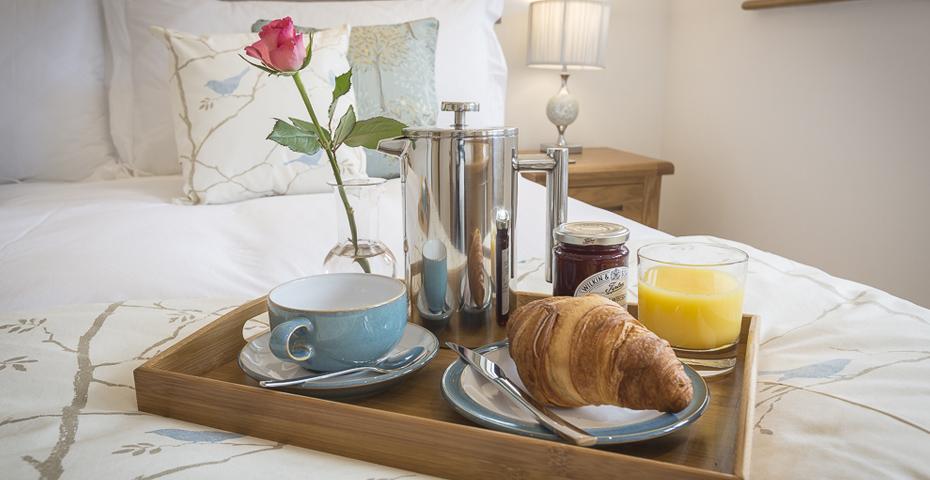Breakfast in bed at Butterwell Barn