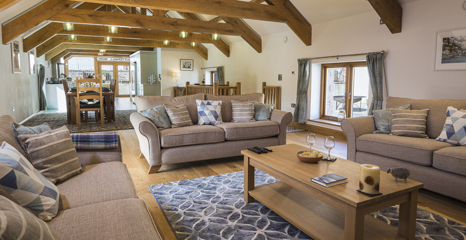 Butterwell Barn lounge and kitchen