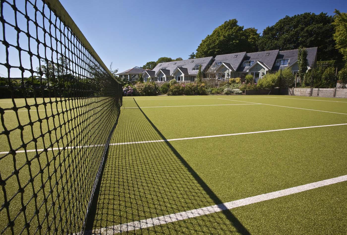 Hillfield Village - tennis court and Court Cottages