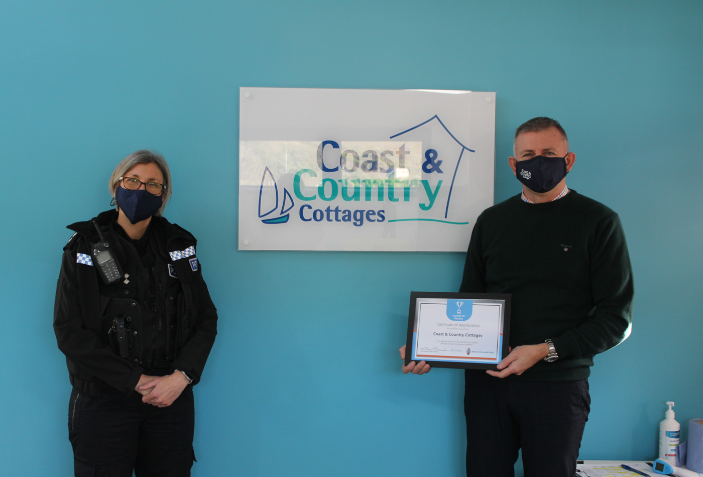 Devon and Cornwall Police presents C&CC with Covid-19 Heroes Award certificate